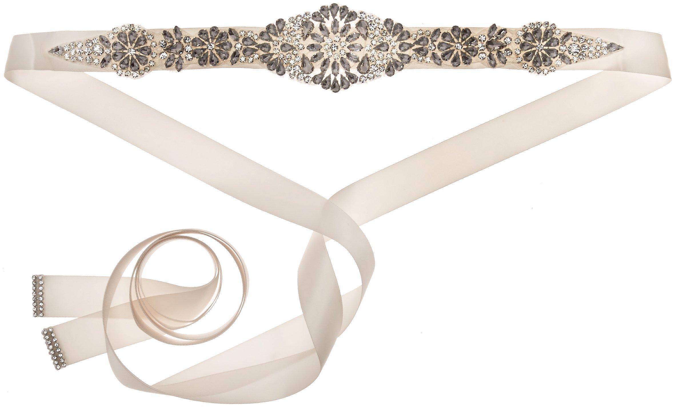 Nina Women's Aneesa Romantic Floral Embellished Satin Bridal Belt, Ivory, One Size
