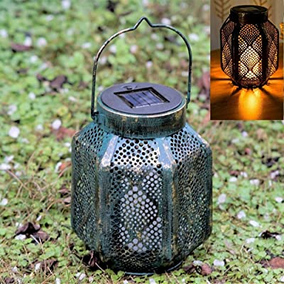 Solar Lantern Hanging Dancing Flickering Flame lamp Outdoor Decorative Lights for Garden Patio Courtyard and Tabletop. Rustic Old Fashioned.