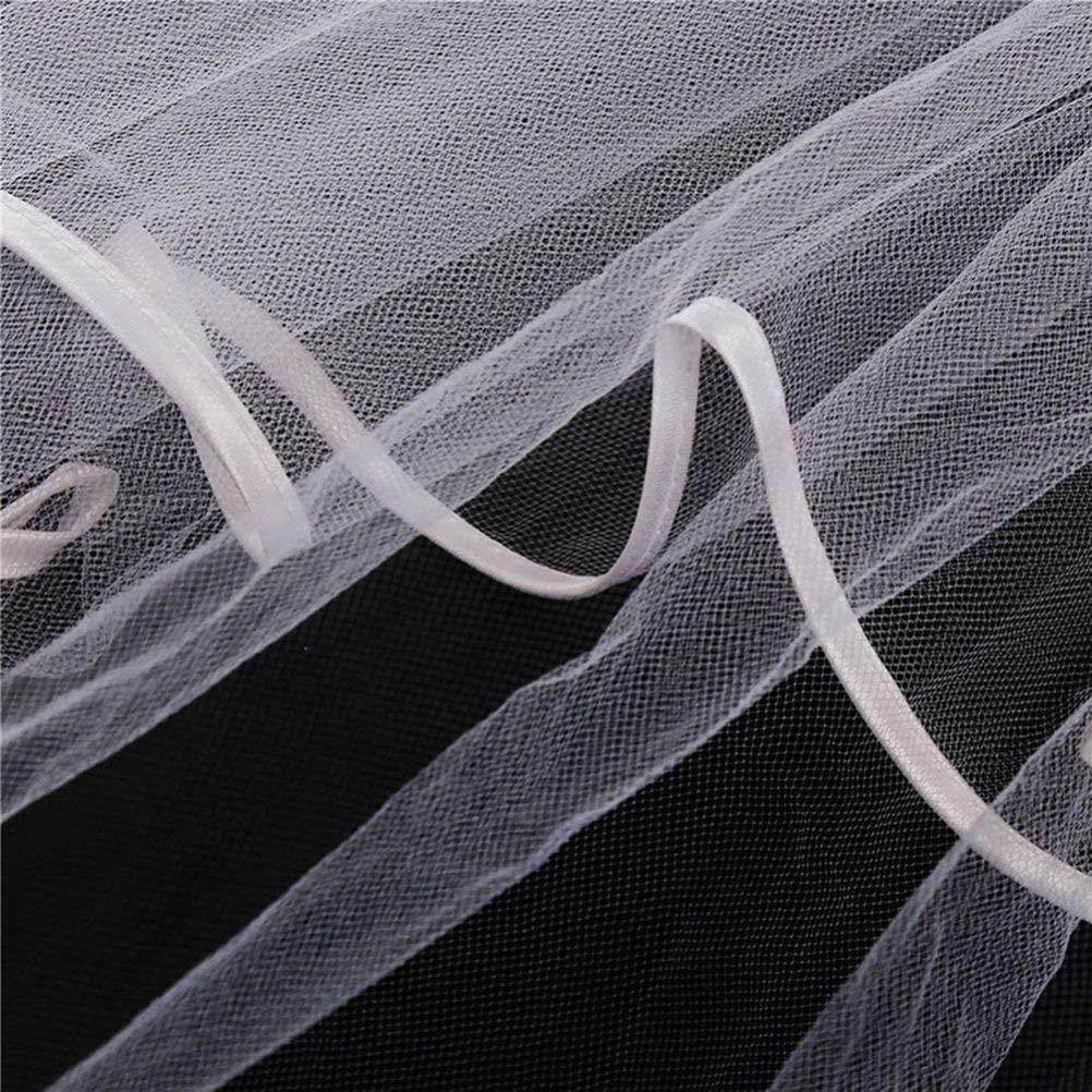 Wei/ß Amosfun Junggesellenabschied Schleier Hochzeit Brautschleier mit Blumenstirnband Kopfbedeckungen