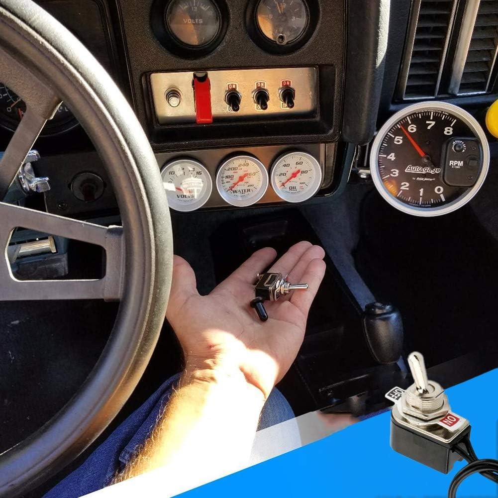 6Pcs Mini Interruttore a Levetta Per Auto Professionale Con Pre-Cablato,ON-OFF 2 Posizione 2 Pin SPST Metallo Interruttore a Bilanciere per Auto Camion Barca 3A 250VAC 6A 125VAC