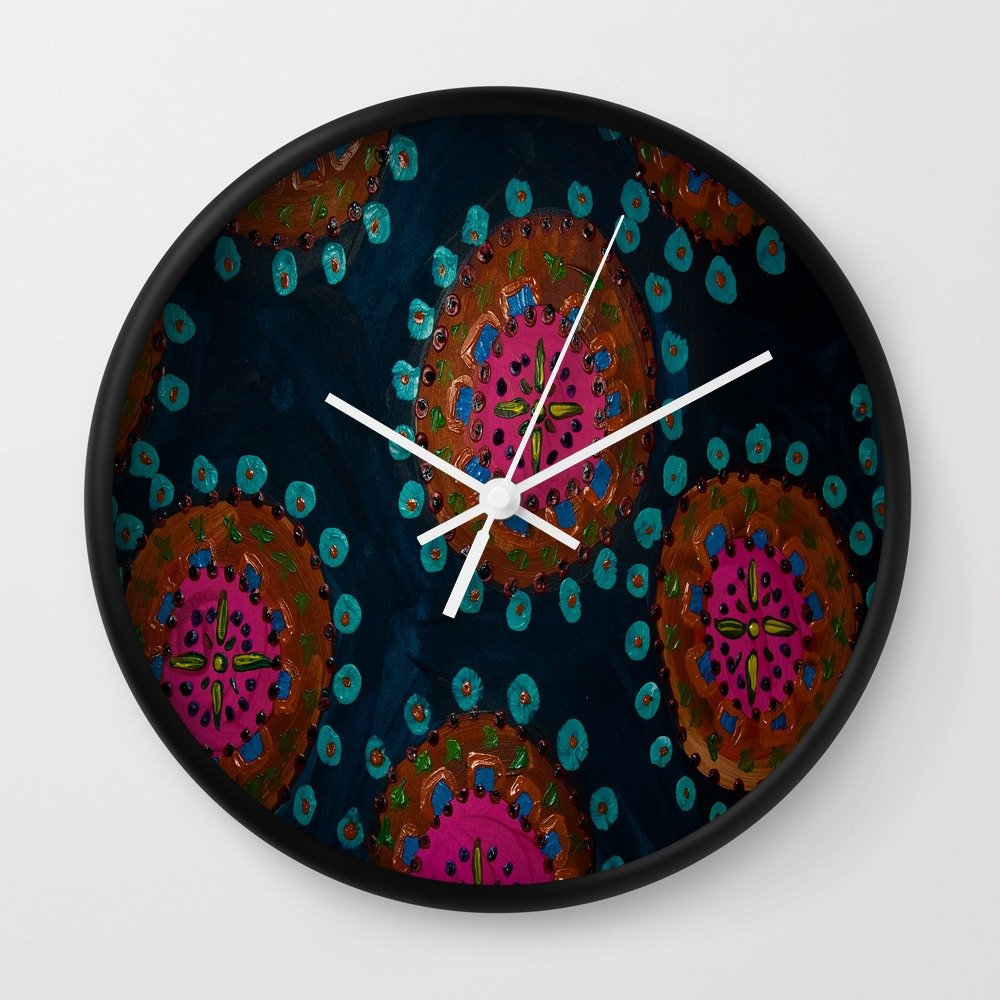 Society6 Thai Sunrise Wall Clock Black Frame, White Hands by Society6
