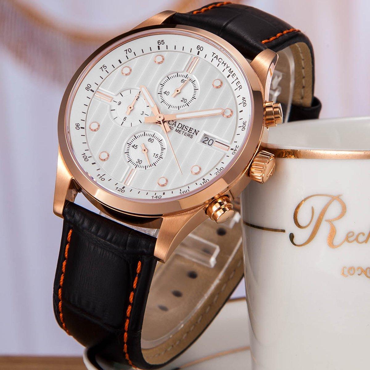 Amazon.com: CADISEN Mens Sapphire Black Casual Luxury Businesss Sports Quartz Watches: Watches