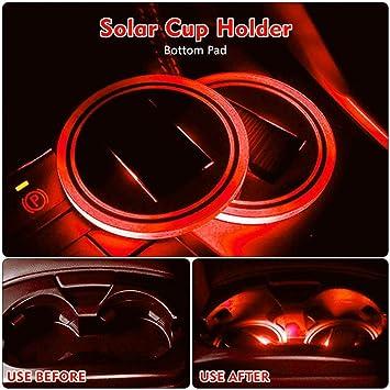 Solar-LED-Auto-Cupholder-Matte Anti Slip wasserdichte Flasche Getr/änke Untersetzer