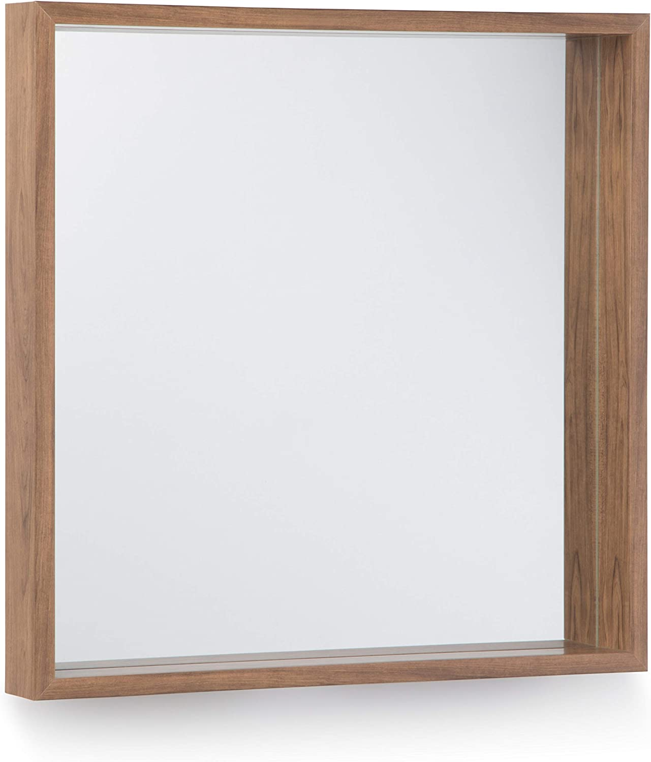 Simpli Home Armand 25 inch x 25 inch Square Transitional Décor Mirror in Natural Stain