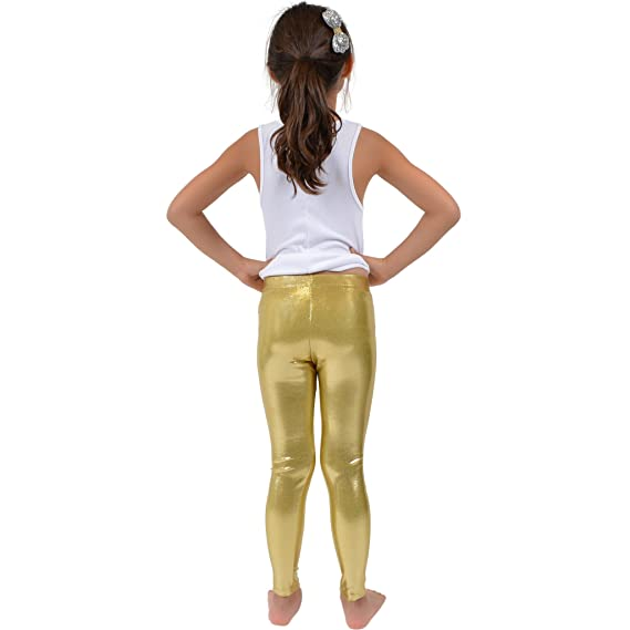 ca37b0ef3314d Amazon.com: Stretch is Comfort Girl's Metallic Mystique Leggings: Clothing