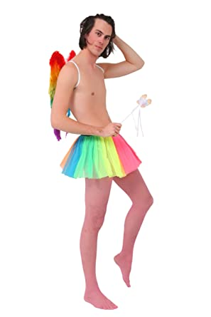 06ba007be9053 Crazy Chick® Unisex Fancy Dress With Clown Rainbow Tutu Skirt, Fishnet  Tights, Rainbow Foldable Wings, Butterfly Wand - Gay Pride Rainbow, Summer  Festival