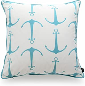 """Hofdeco Beach Indoor Outdoor Pillow Cover ONLY, Water Resistant for Patio Lounge Sofa, Aqua Turquoise Anchor, 18""""x18"""""""