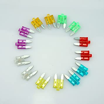2 OF EACH- 12 10A//15A//20A//25A//30A//35A GLOW WHEN IT BLOW LED MINI BLADE CAR FUSES