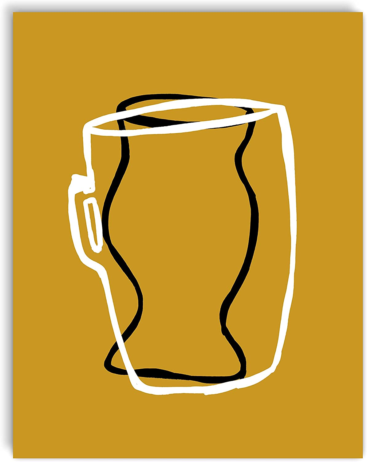 Printsmo, Bowl with Handle and Vase, Minimalist Modern Abstract Art Print Poster, Contemporary Wall Art for Home Decor 11x14 inches, Unframed (Gold)