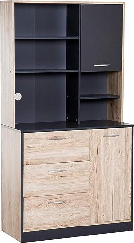 HOMCOM 67″ Freestanding Kitchen Cupboard Hutch