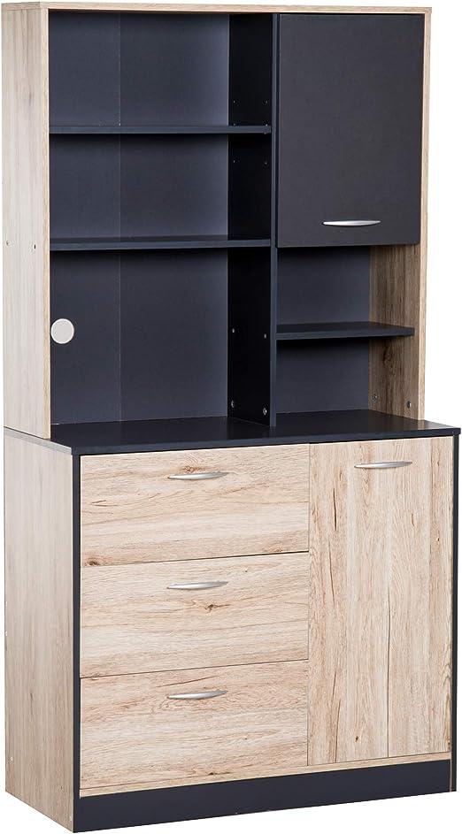 Homcom - Armario de cocina independiente de madera para ...