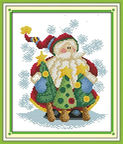 Cross Stitch Kits Christmas Gift, Counted Christmas Gift Santa Claus Awesocrafts Easy Patterns Cross Stitching Embroidery Kit Supplies Christmas Gifts Stamped or Counted