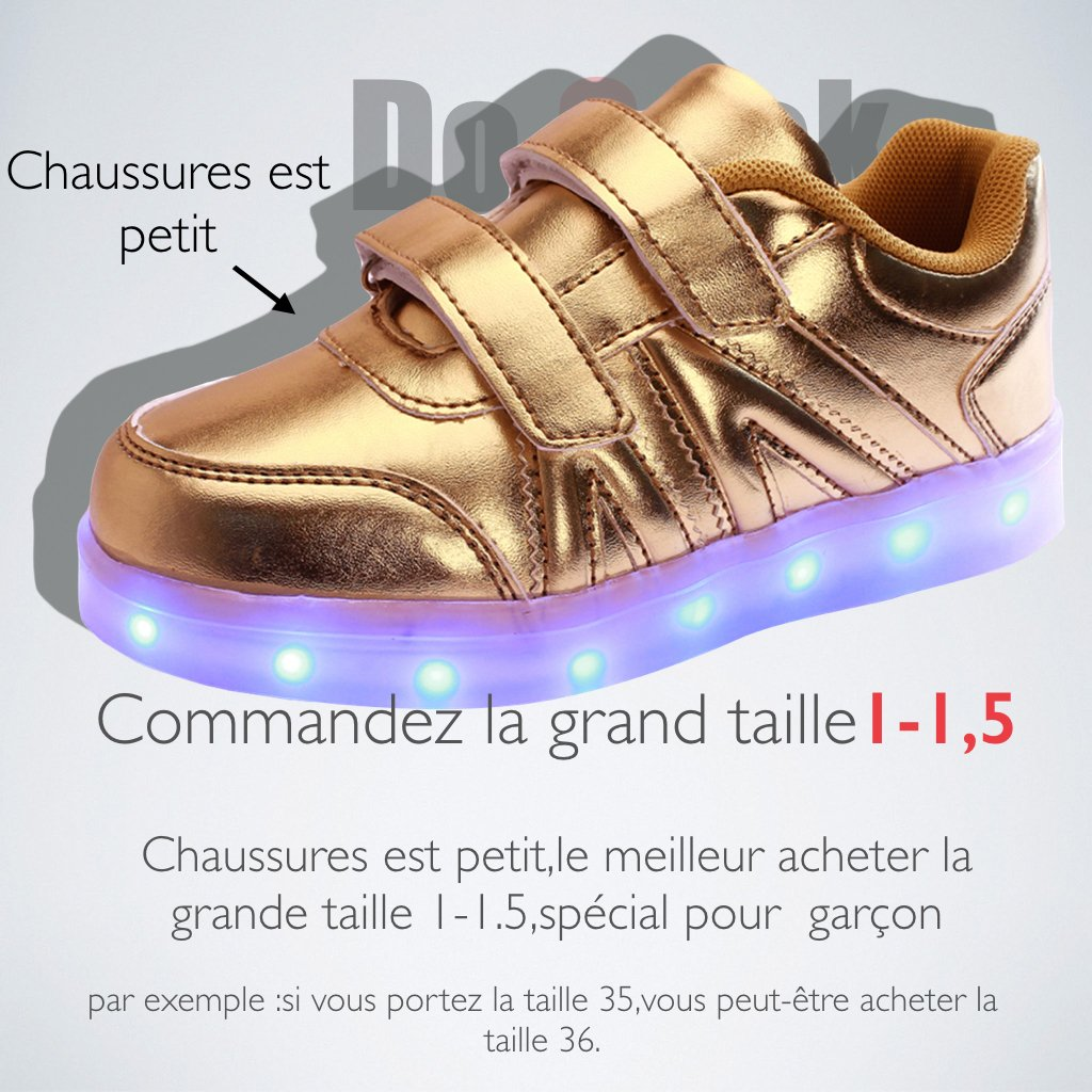 75d298f879c38 DoGeek Unisex Kids  Kid Allume Chaussures LED Shoes gold Size  9   Amazon.co.uk  Shoes   Bags