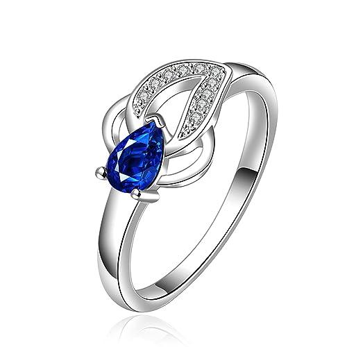 fendina para mujer Vintage bañado en plata flor Manmade pera zafiro solitario promesa anillo de compromiso