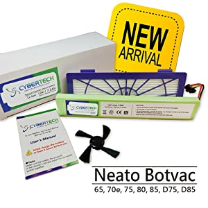 CyberTech High Capacity 7200 mAh Lithium Ion Replacement Battery for Neato Botvac Series 70e 75 80 85 and Botvac D Series D75 D80 D85 Robots, One Free Side Brush and One Free HEPA Filter Included