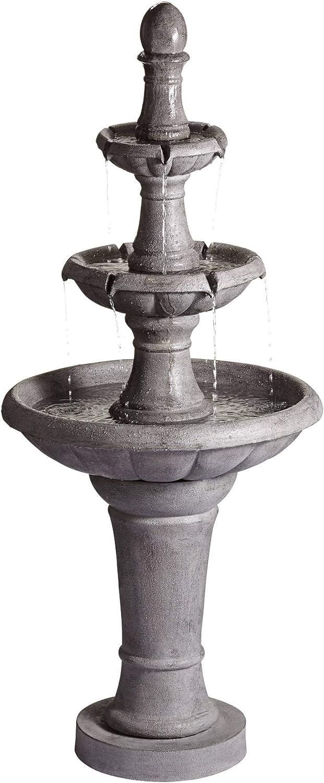 "John Timberland Pisa Italian Outdoor Floor Water Fountain 57 1/2"" High 3 Tiered Bowls for Yard Garden Patio Deck Home"