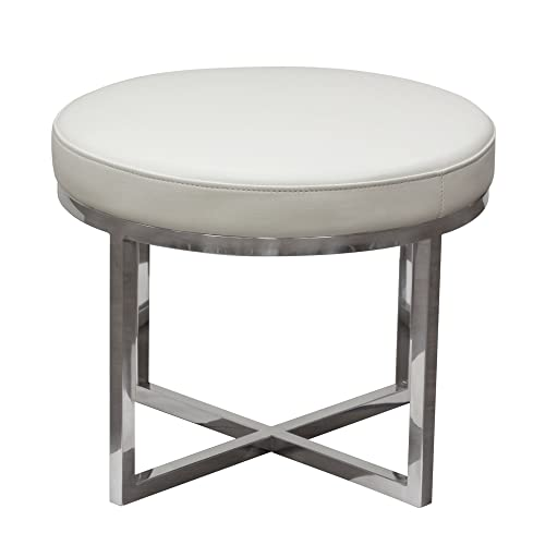 Diamond Sofa Ritz Round Accent Stool in White