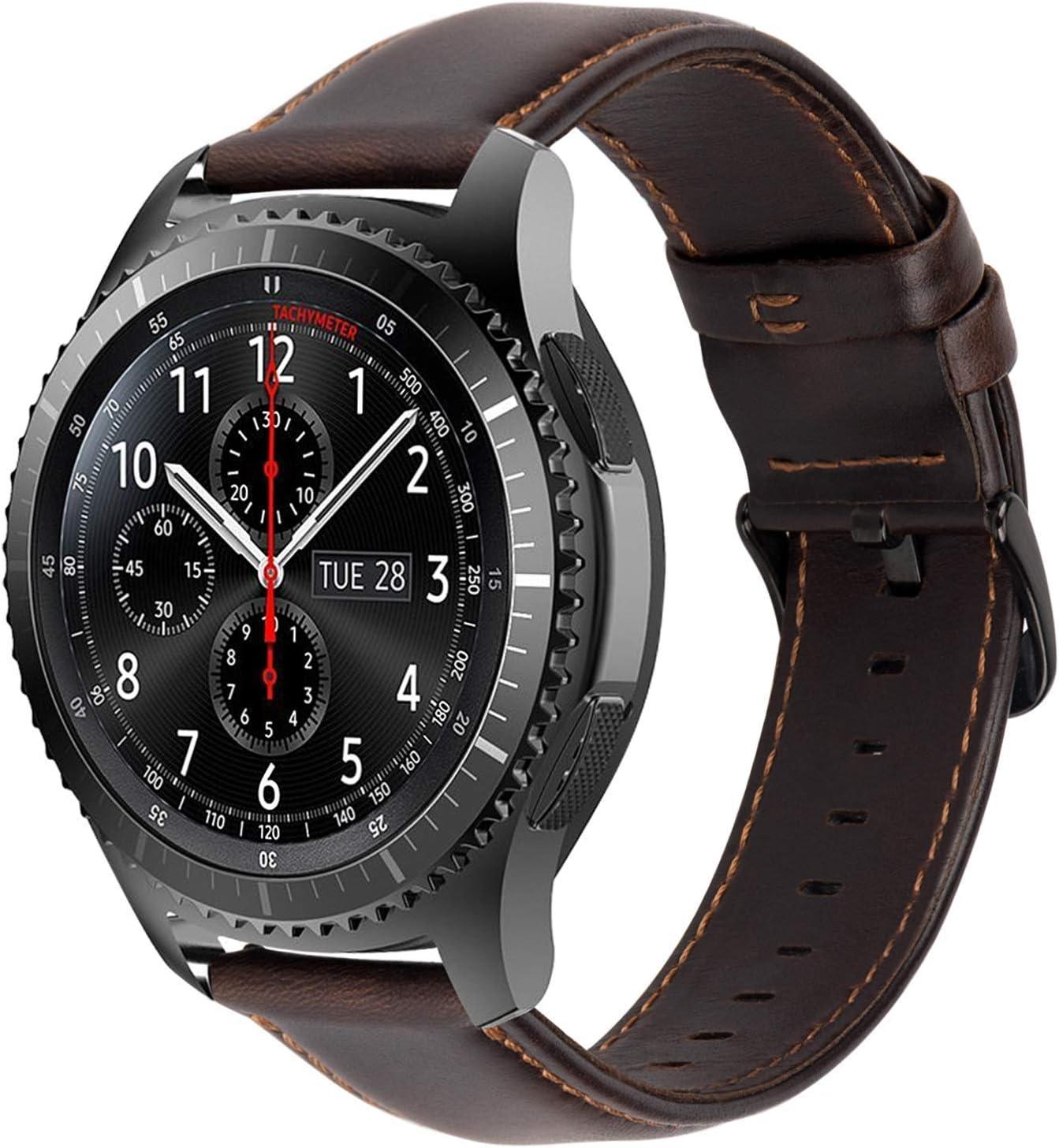 iBazal 22mm Correas Cuero Piel Pulseras Bandas Compatible con Samsung Galaxy Watch 46mm,Gear S3 Frontier Classic,Huawei GT/2 Classic/Honor Magic,Ticwatch Pro Hombres Band (Reloj No Incluido) - Café