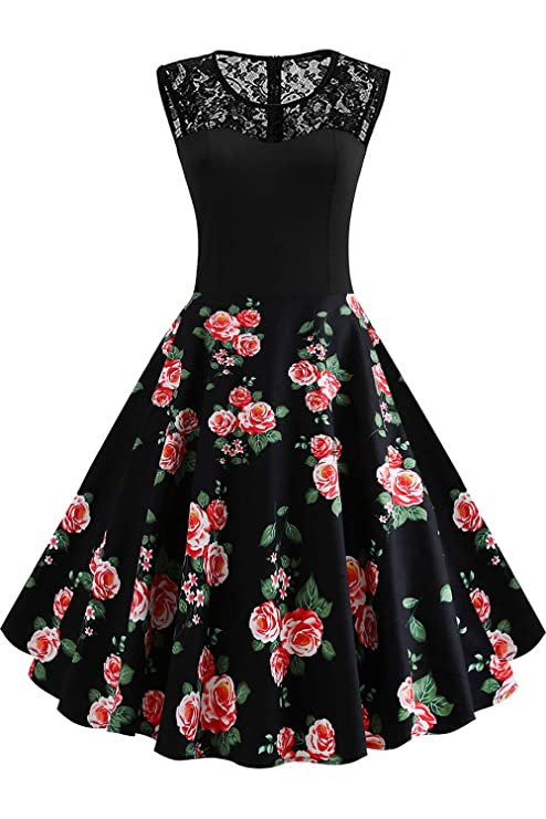 Axoe Damen 50er Jahre Rockabilly Kleid mit Blumenmuster Ärmellos