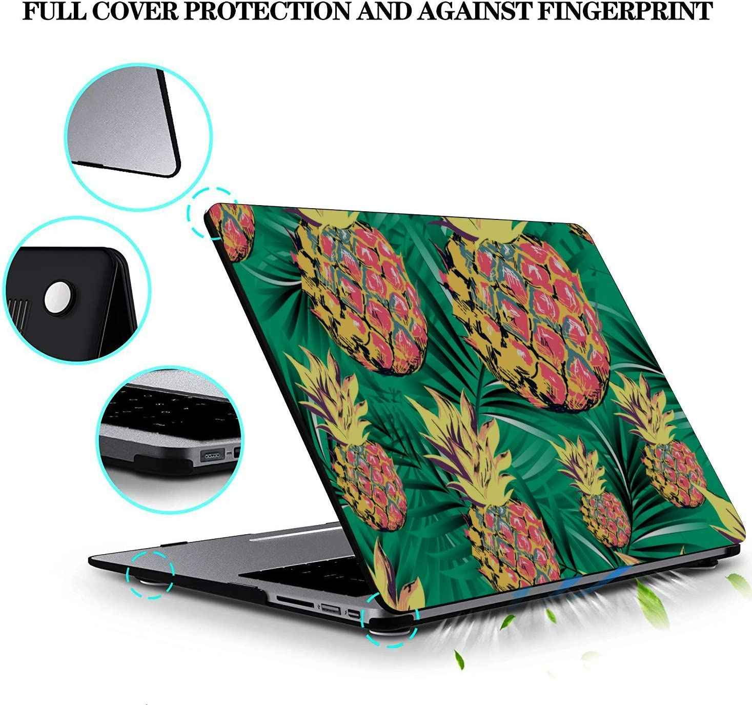 MacBook Computer Case Summer Romantic Fruit Cute Pineapple Plastic Hard Shell Compatible Mac Air 11 Pro 13 15 MacBook Pro 13inch Case Protection for MacBook 2016-2019 Version