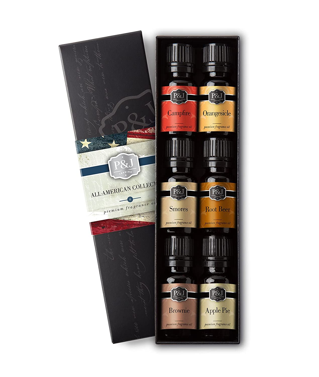All-American Set of 6 Premium Grade Fragrance Oils - Smores, Apple Pie, Brownie, Campfire, Orangesicle, Root Beer