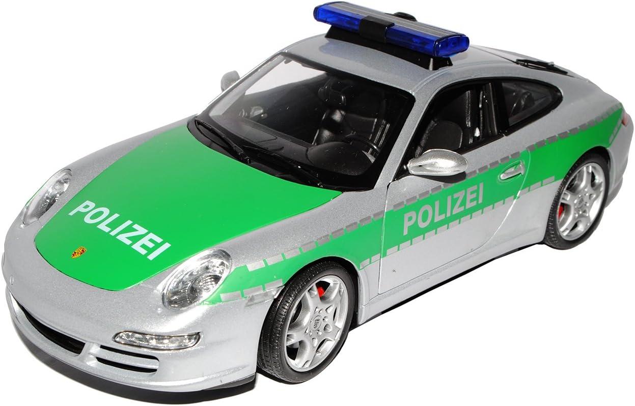 Porsche 911 997 GrÜn Silber Polizei Police 1//18 Welly Modellauto Modell Auto