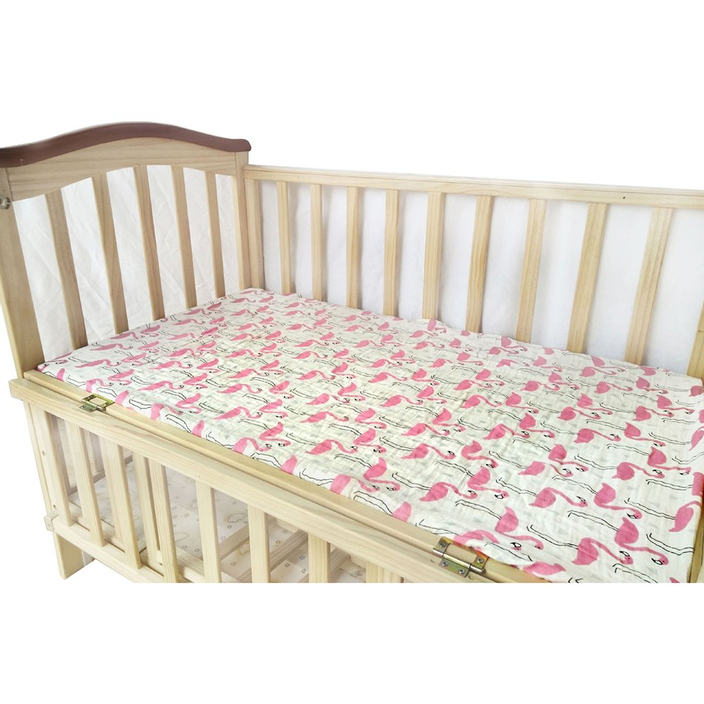 """Baby Fitted Crib Sheet, 100% Cotton Muslin Extra Soft Sleeper Sheets 28""""x52"""" for Standard Crib Bedding and Toddler Mattresses (Flamingo)"""