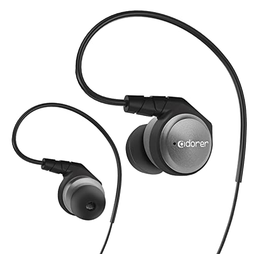 Adorer M9 High Definition In-Ear Monitors Headphones with Microphone - Noise Isolating Earphones for iPhone, iPad, Samsung, Andriod, iOS, MP3 Players - SIlver