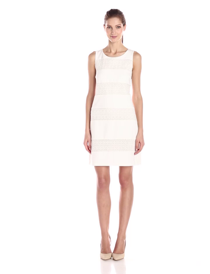 Jessica Simpson Women's Knit Shift Dress with Lace, White, 4