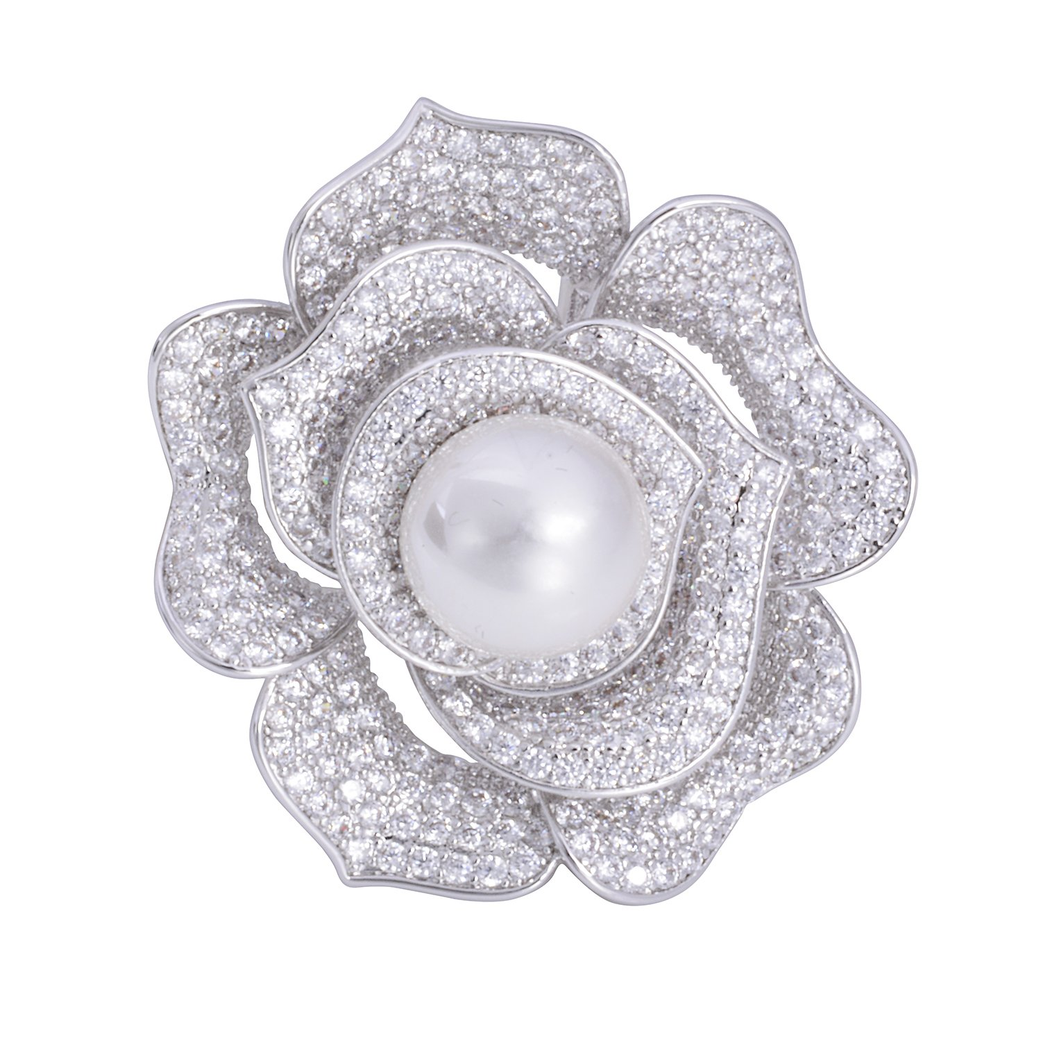 OBONNIE Sparking Micro Pave Layered Petal Pearl Camellia Rose Flower Brooch Pin Wedding Bridal Jewelry (Rose) by OBONNIE