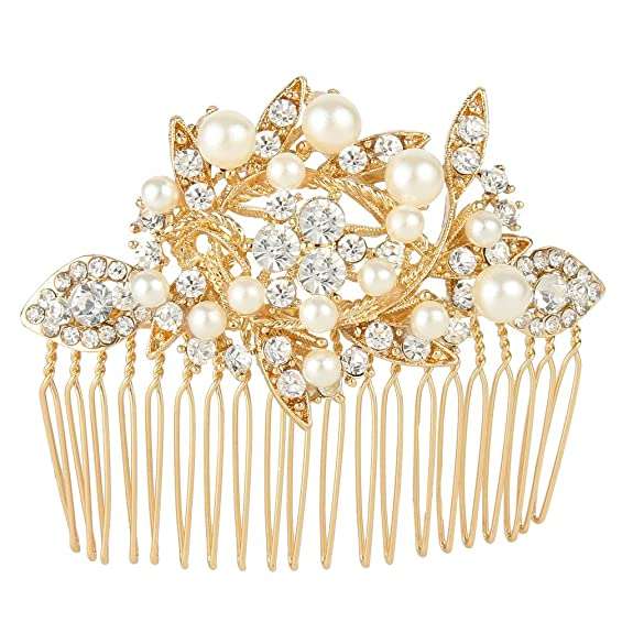 Vintage Hair Accessories: Combs, Headbands, Flowers, Scarf, Wigs EVER FAITH Austrian Crystal Cream Simulated Pearl Bridal Lots Leaves Flowers Hair Side Comb Clear $7.99 AT vintagedancer.com
