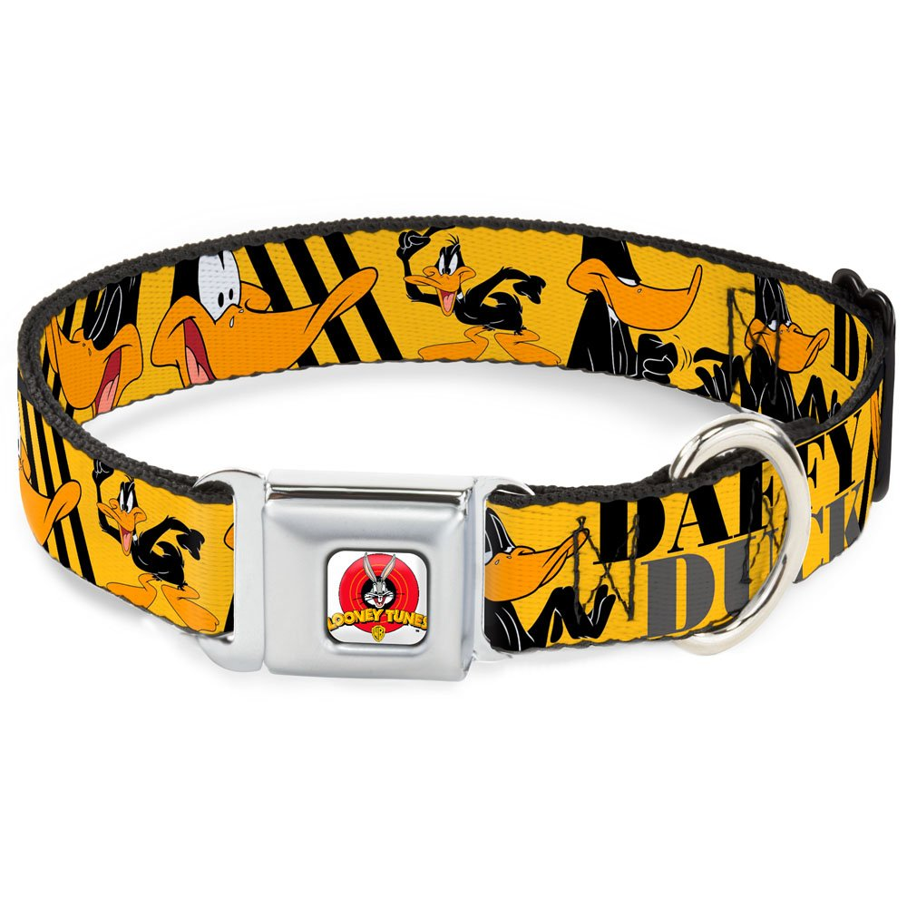 Buckle-Down Seatbelt Buckle Dog Collar Daffy Duck w Poses Yellow Black 1  Wide Fits 9-15  Neck Small