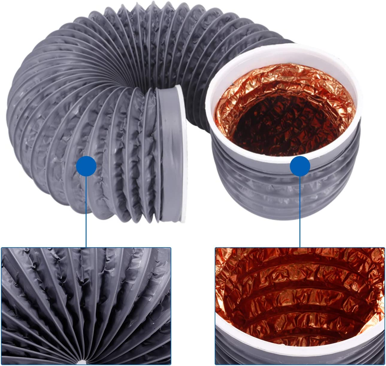 Ventilation Hose 100mm*2m End with Copper Band Connector Hon/&Guan Aluminium Flexible Air Hose Ducting