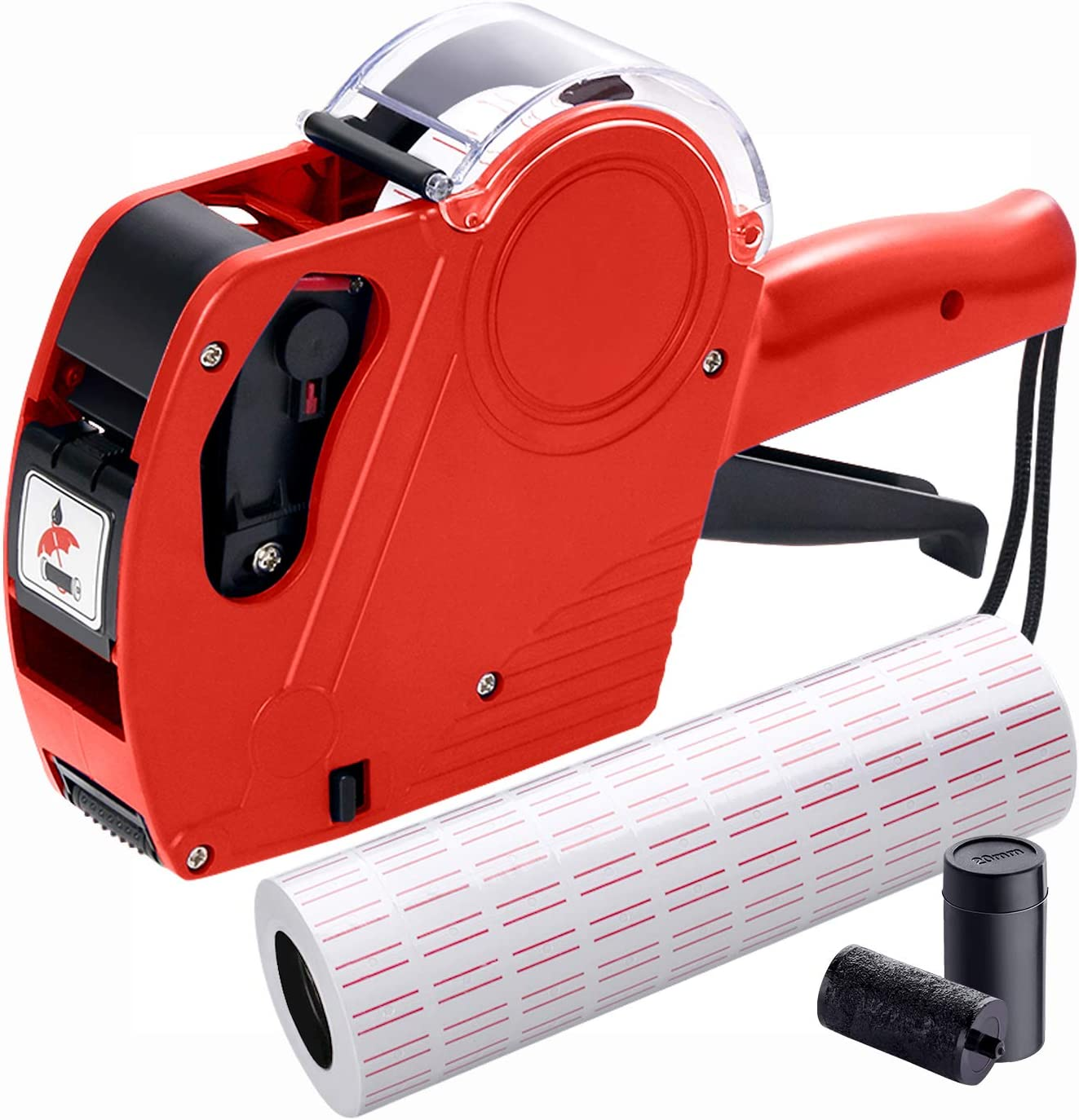 MX5500 Pricing Tag Gun with 5150 pcs White Label Gun Stickers & 2 Extra Inker Rollers, Pricing Label Gun, 8 Digits Retail Pricing Gun and Labels for Grocery Store, Food (Red)