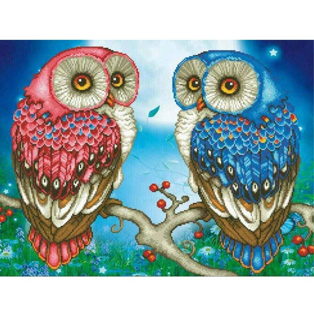Full Drill 5D Diamond Painting Kit,Diamond Painting Kits for Kids for Home Wall Decor Owl 15.7x11.8in 1 Pack by Greatmin