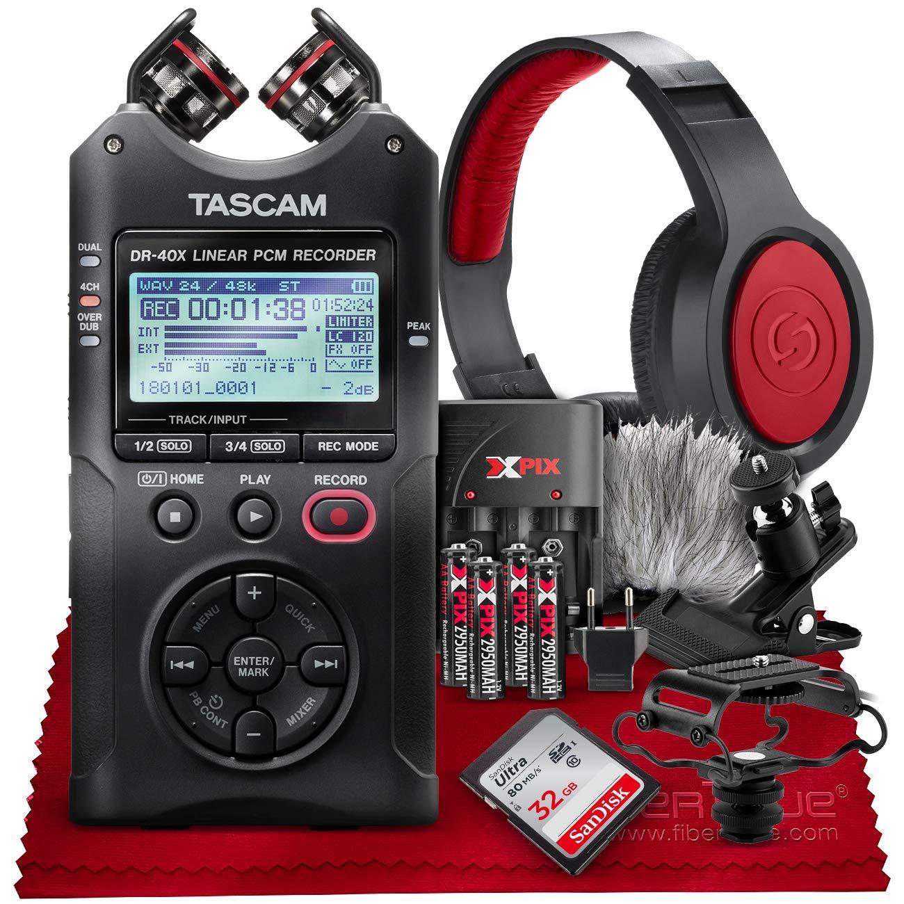 Tascam DR-40X Four-Track Digital Audio Recorder and USB Audio Interface + 32GB + Samson Headphones + Batteries + Accessories Bundle