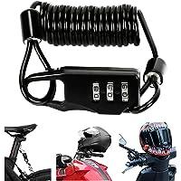 Bestcool Candado para casco de motocicleta, combinación de cable de bicicleta, bloqueo ligero para casco de bicicleta…