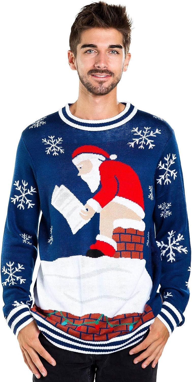 Tipsy Elves Mens Santa Pooping Ugly Christmas Sweater Funny Santa Xmas Sweater