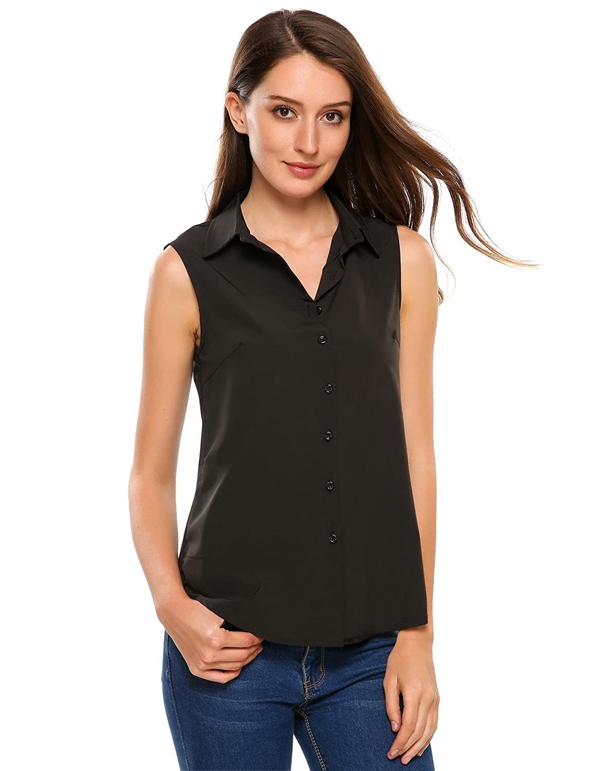 1cbe7ce5 Zeagoo Women's Sleeveless Button Down Shirt Tops Solid Casual Loose Blouse  at Amazon Women's Clothing store: