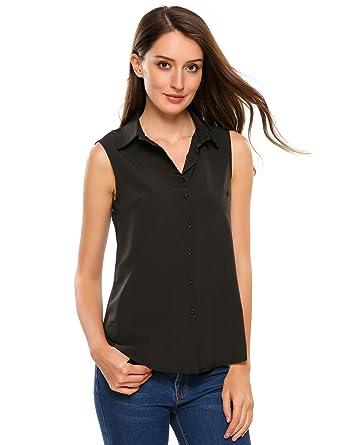 eb4dd0c3b1d7 Zeagoo Women's Sleeveless Button Down Shirt Tops Solid Casual Loose Blouse  - Black/S-