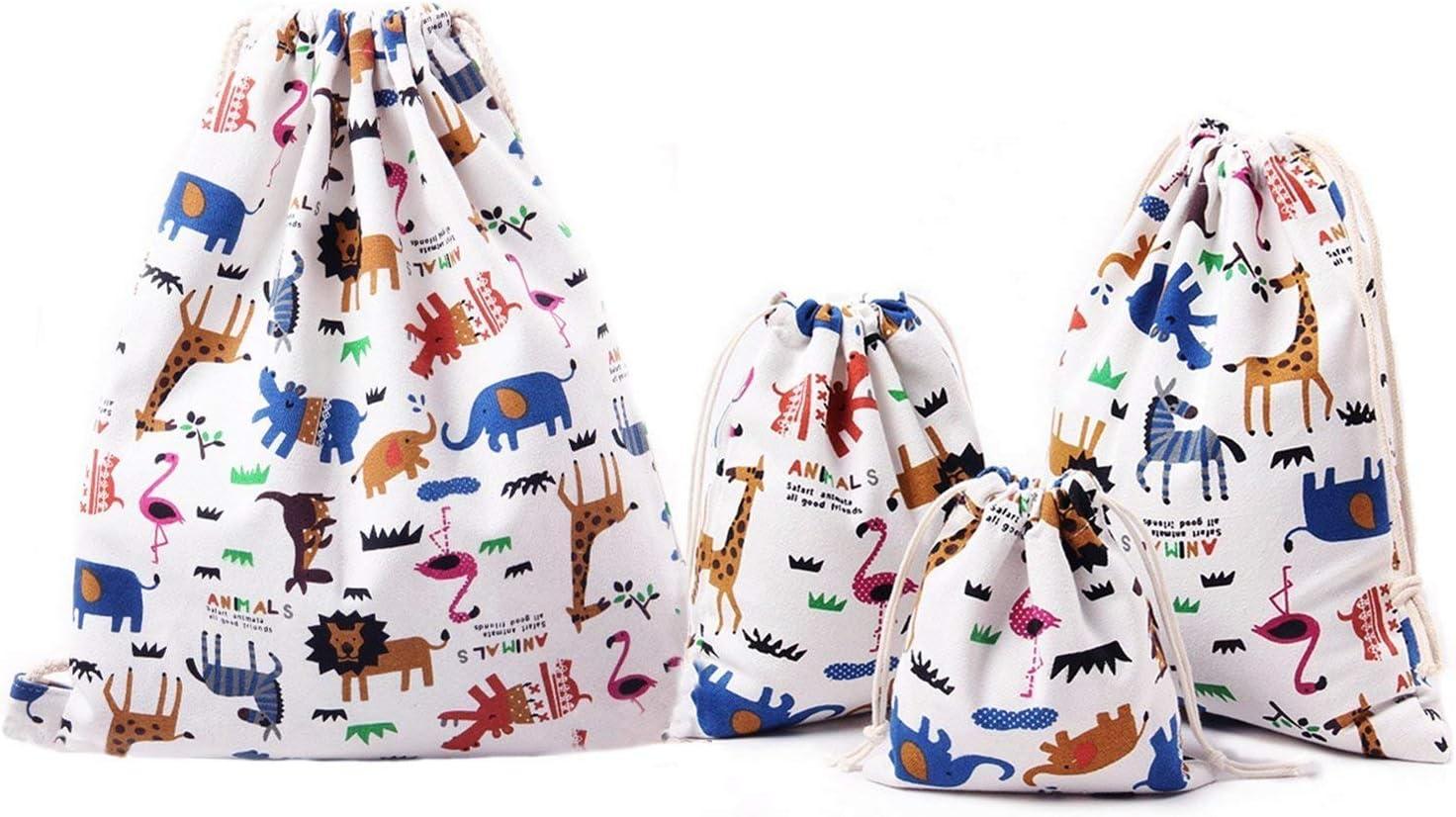Abaría - Bolsas de tela 4 piezas, mochila de cuerda + 3 bolsos del almacenaje organizador para maleta, animal