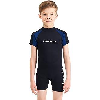 78c56d9fa5  2 Lemorecn Kids Wetsuits Youth Premium Neoprene 2mm Youth s Shorty Swim  Suits