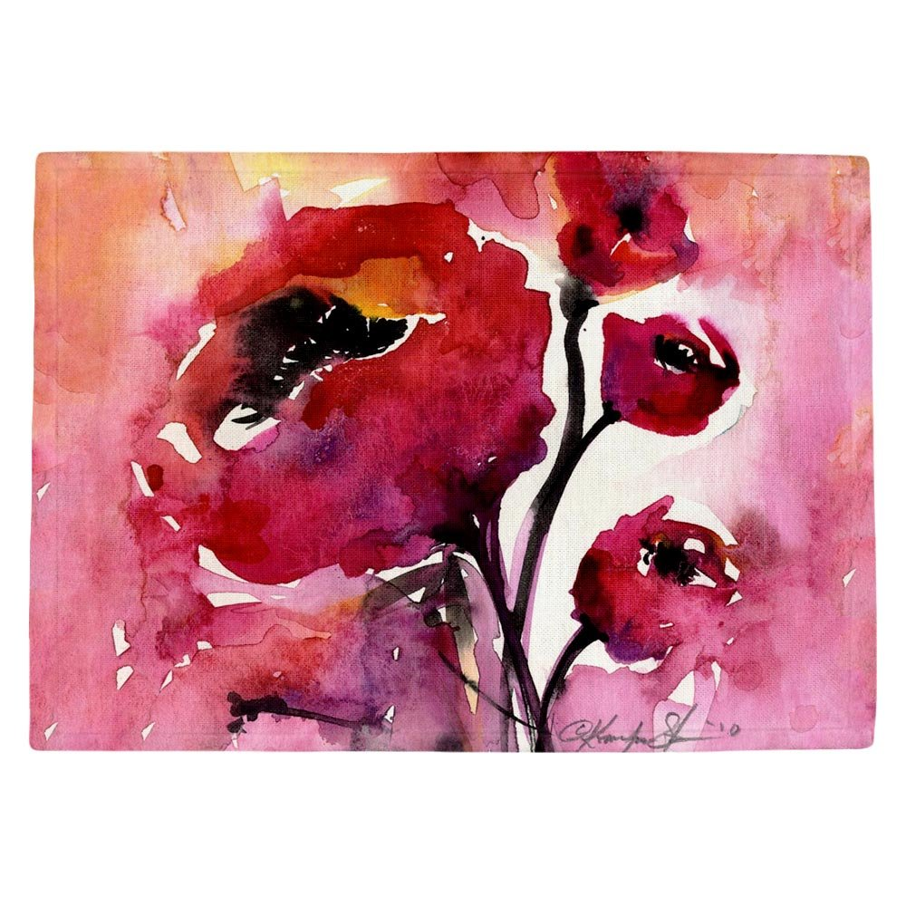 DIANOCHEキッチンPlaceマットby Kathy Stanion – 花柄17 Set of 4 Placemats PM-KathyStanionFloral172 Set of 4 Placemats  B01EXSJ9A6