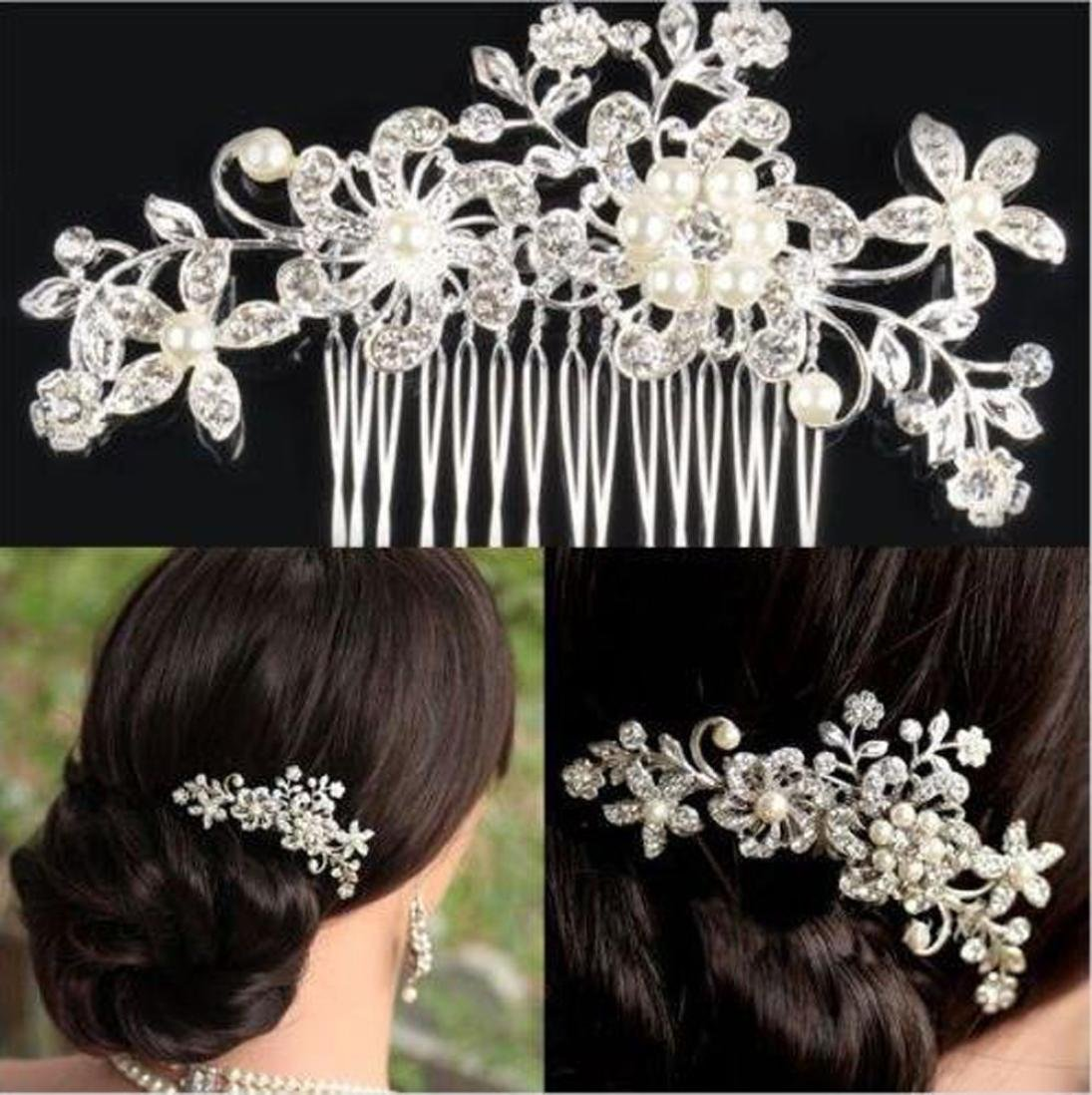 Oyedens Women Bridal Flower Diamante Crystal Rhinestones Pearls Hair Clip Comb Wedding Headdress
