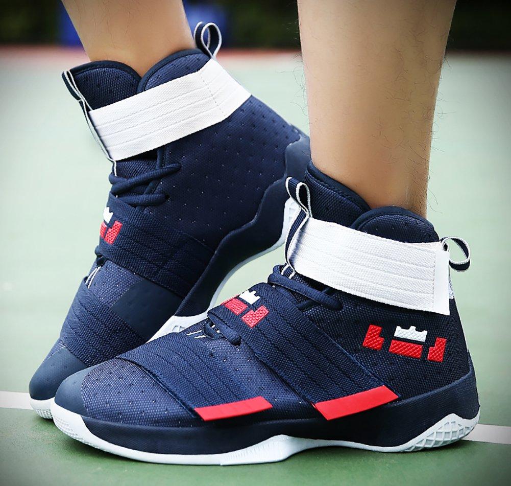 No.66 Town Couple Men's Women's High Top Running Shoes Fashion Sneaker,Basketball Shoes B078CYSMN8 (US)8 women's/6.5 men's|Deep Blue