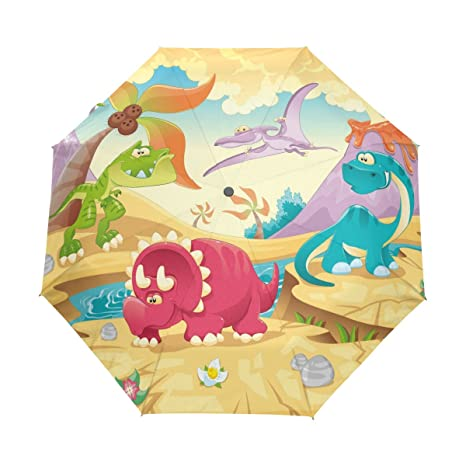 COOSUN Dinosaurio automática 3 plegable Parasol Umbrella Color # 001