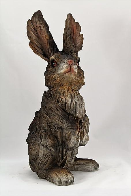 Garden Ornament Wood effect Rabbit Hare Sculpture indoor outdoor Gift