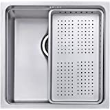 JASS FERRY Undermount Stainless Steel Sink Kitchen Strainer Dish Drainer Rack 1 Deep Single Bowl Square with Waste 10 Years Warranty (Small)