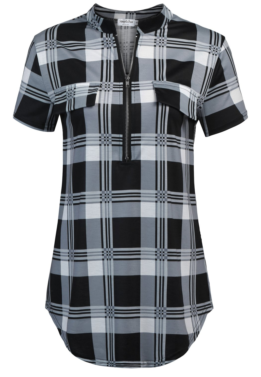 SimpleFun Plus Size Casual Blouses for Women,Short Sleeve Plaid Printed Zip up Shirts Top (Black Plaid,XXL)