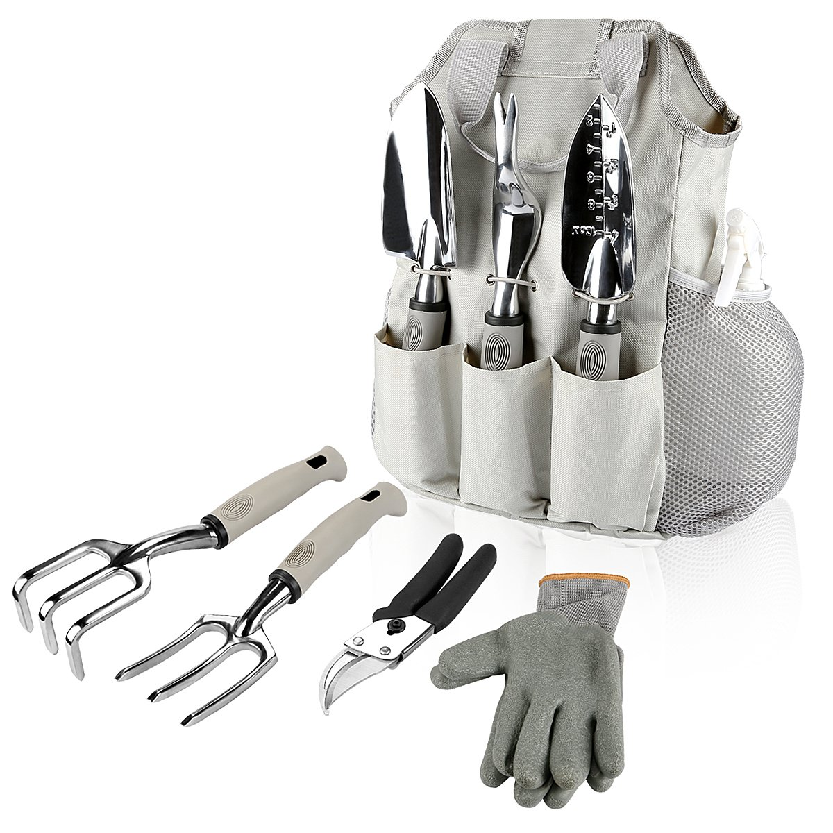 Energup 9 Piece Garden Tools Set Gardening Gifts Tools with Garden Gloves and Garden Tote Garden Trowel Pruners and More - Vegetable Herb Garden Hand Tools with Storage Tote